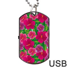 Background Cute Flowers Fuchsia With Leaves Dog Tag Usb Flash (two Sides)