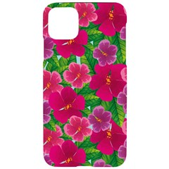Background Cute Flowers Fuchsia With Leaves Iphone 11 Pro Max Black Uv Print Case
