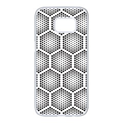 Halftone Tech Hexagons Seamless Pattern Samsung Galaxy S7 Edge White Seamless Case by BangZart