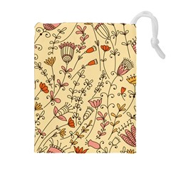 Seamless Pattern With Different Flowers Drawstring Pouch (xl)