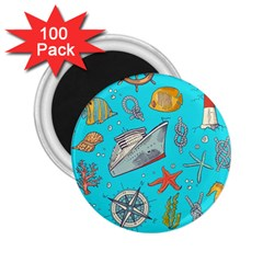 Colored Sketched Sea Elements Pattern Background Sea Life Animals Illustration 2 25  Magnets (100 Pack)
