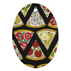 Vector Seamless Pattern With Italian Pizza Top View Ornament (oval)