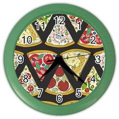 Vector Seamless Pattern With Italian Pizza Top View Color Wall Clock by BangZart