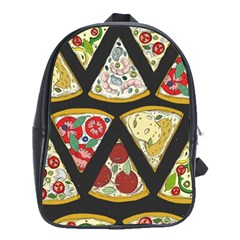 Vector Seamless Pattern With Italian Pizza Top View School Bag (large) by BangZart