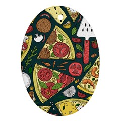 Vector Seamless Pizza Slice Pattern Hand Drawn Pizza Illustration Great Background Ornament (oval)