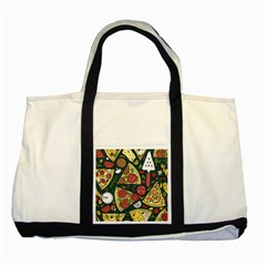 Vector Seamless Pizza Slice Pattern Hand Drawn Pizza Illustration Great Background Two Tone Tote Bag