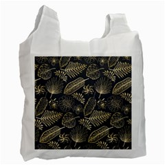 Elegant Pattern With Golden Tropical Leaves Recycle Bag (two Side)