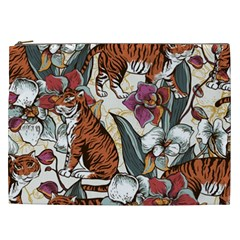 Natural Seamless Pattern With Tiger Blooming Orchid Cosmetic Bag (xxl)