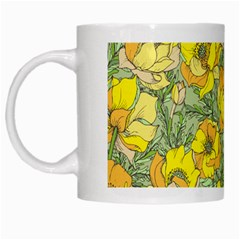 Seamless Pattern With Graphic Spring Flowers White Mugs