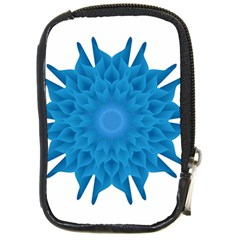 Blue Blend Flower Compact Camera Leather Case