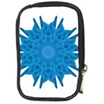 Blue Blend Flower Compact Camera Leather Case Front