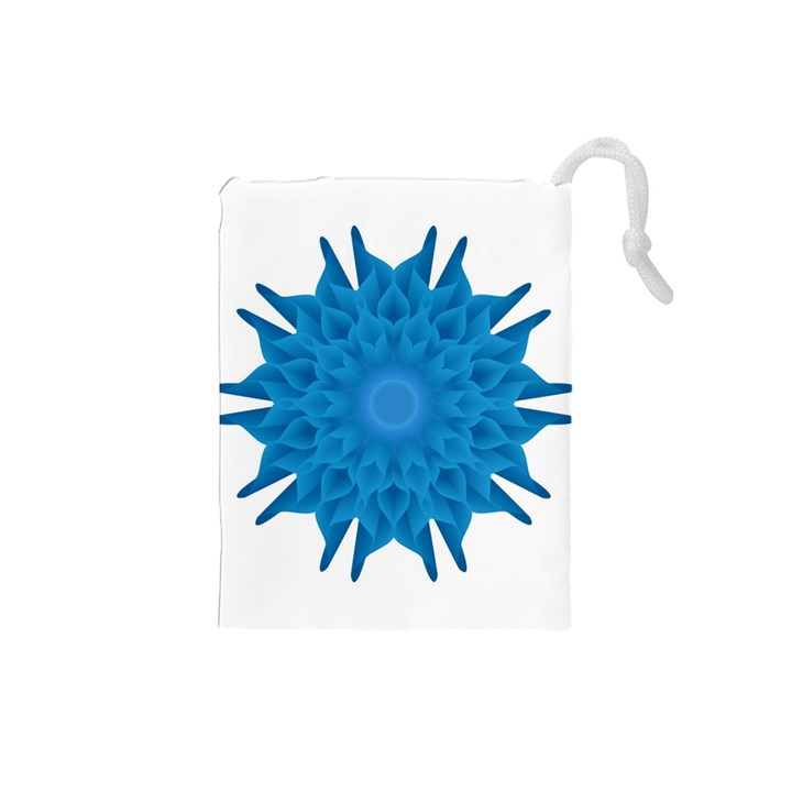 Blue Blend Flower Drawstring Pouch (Small)