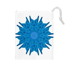 Blue Blend Flower Drawstring Pouch (large)