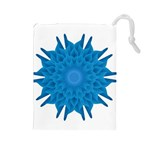 Blue Blend Flower Drawstring Pouch (Large) Front