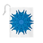 Blue Blend Flower Drawstring Pouch (Large) Back