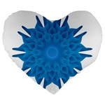 Blue Blend Flower Large 19  Premium Flano Heart Shape Cushions Front