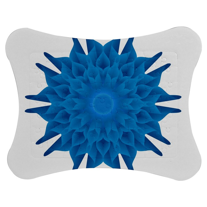Blue Blend Flower Jigsaw Puzzle Photo Stand (Bow)