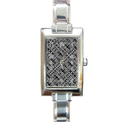 Linear Black And White Ethnic Print Rectangle Italian Charm Watch by dflcprintsclothing