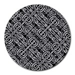 Linear Black And White Ethnic Print Round Mousepads Front