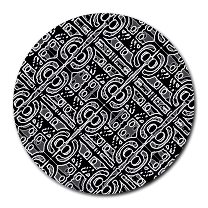 Linear Black And White Ethnic Print Round Mousepads