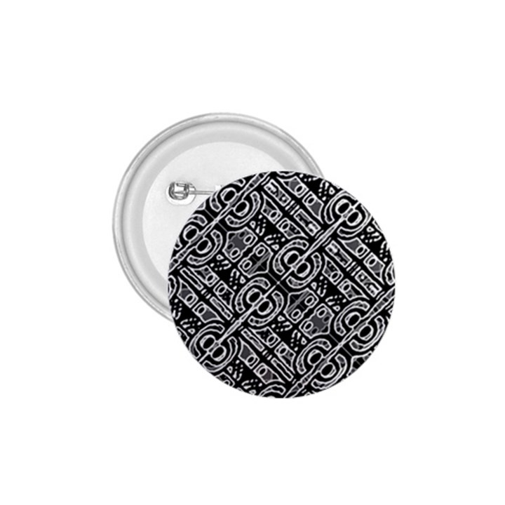 Linear Black And White Ethnic Print 1.75  Buttons