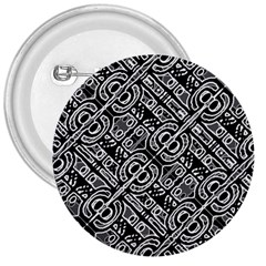 Linear Black And White Ethnic Print 3  Buttons