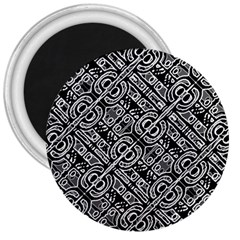 Linear Black And White Ethnic Print 3  Magnets by dflcprintsclothing