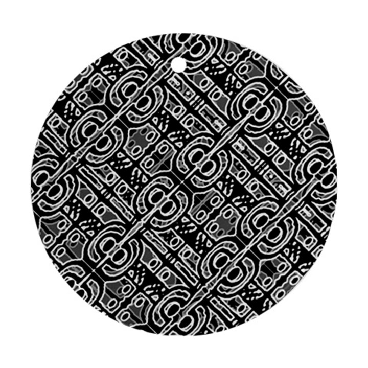 Linear Black And White Ethnic Print Ornament (Round)