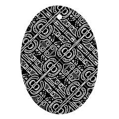 Linear Black And White Ethnic Print Ornament (oval)