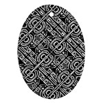 Linear Black And White Ethnic Print Ornament (Oval) Front