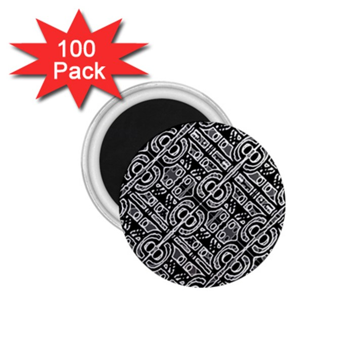 Linear Black And White Ethnic Print 1.75  Magnets (100 pack)
