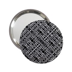 Linear Black And White Ethnic Print 2 25  Handbag Mirrors by dflcprintsclothing