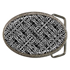 Linear Black And White Ethnic Print Belt Buckles by dflcprintsclothing