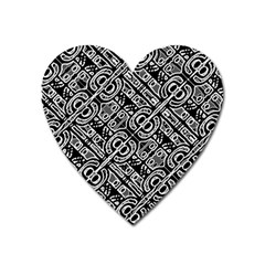 Linear Black And White Ethnic Print Heart Magnet by dflcprintsclothing