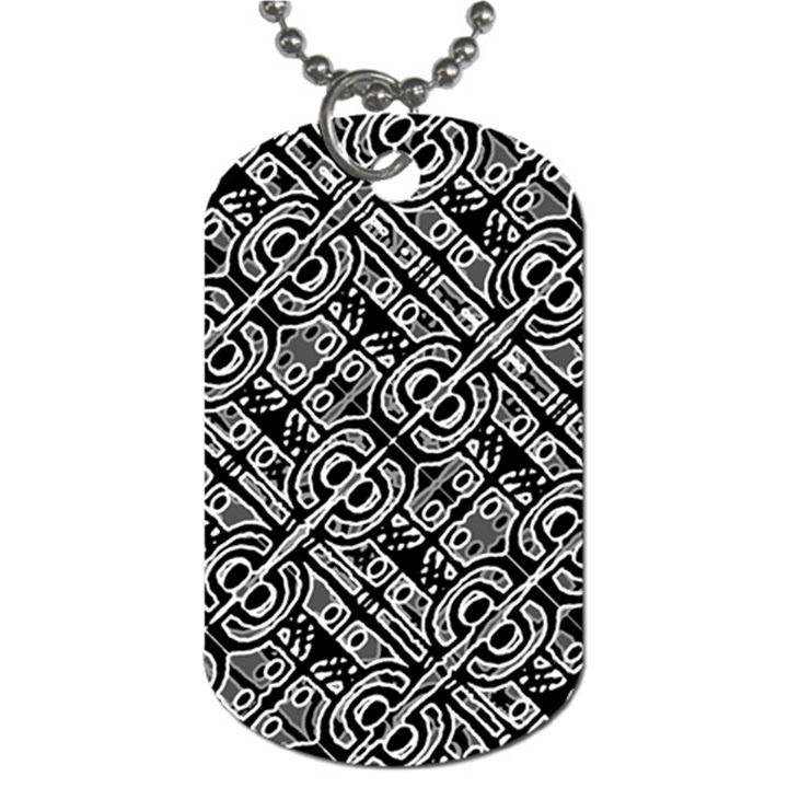 Linear Black And White Ethnic Print Dog Tag (Two Sides)