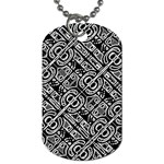 Linear Black And White Ethnic Print Dog Tag (Two Sides) Back