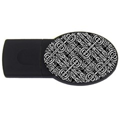 Linear Black And White Ethnic Print Usb Flash Drive Oval (2 Gb)