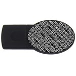 Linear Black And White Ethnic Print USB Flash Drive Oval (2 GB) Front