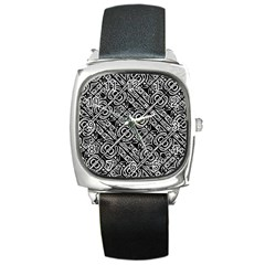 Linear Black And White Ethnic Print Square Metal Watch by dflcprintsclothing
