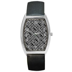 Linear Black And White Ethnic Print Barrel Style Metal Watch by dflcprintsclothing