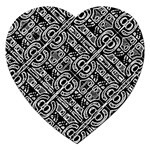 Linear Black And White Ethnic Print Jigsaw Puzzle (Heart) Front