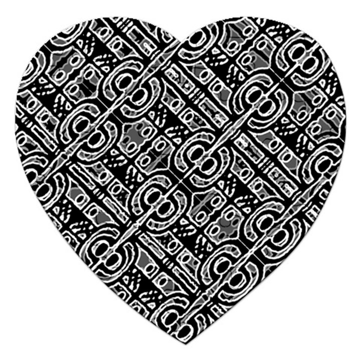 Linear Black And White Ethnic Print Jigsaw Puzzle (Heart)