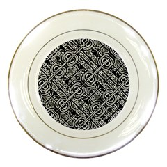 Linear Black And White Ethnic Print Porcelain Plates