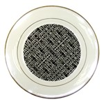 Linear Black And White Ethnic Print Porcelain Plates Front
