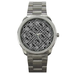 Linear Black And White Ethnic Print Sport Metal Watch by dflcprintsclothing