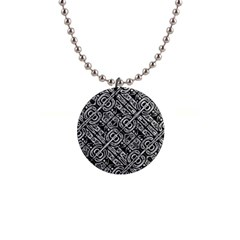 Linear Black And White Ethnic Print 1  Button Necklace by dflcprintsclothing