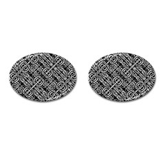 Linear Black And White Ethnic Print Cufflinks (oval) by dflcprintsclothing
