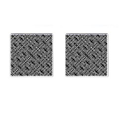 Linear Black And White Ethnic Print Cufflinks (square) by dflcprintsclothing