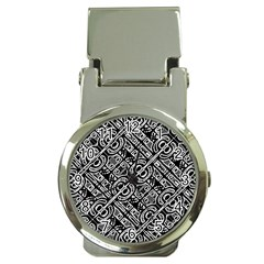 Linear Black And White Ethnic Print Money Clip Watches by dflcprintsclothing