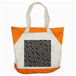 Linear Black And White Ethnic Print Accent Tote Bag Front